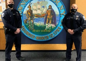 Cameron C. Apple and Corey J. Watts stand together as Bethlehem Police Department's newest police officers. The appointment of a third officer was approved but is still pending upon the results of a agility test.  Bethlehem Police Department