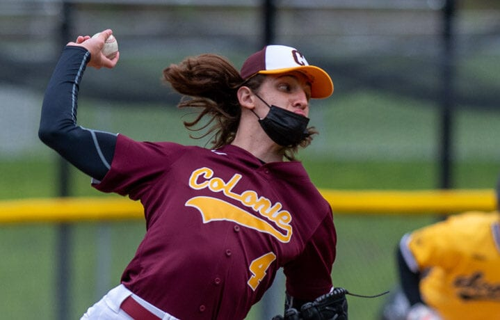 Colonie starting pitcher Gio Conte during a game at Ballston Spa at Ballston Spa High school on Saturday, May 8, 2021. (Jim Franco/Special to the Times Union)