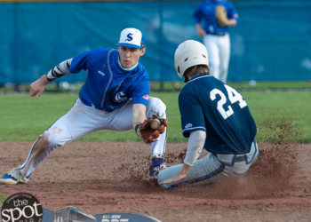 Saratoga baserunner Sean Hudson slides into second under the tag of Shaker shortstop Joe Karpierz during a Suburban Council matchup against Saratoga at Shaker High School in Latham, NY, on Friday, May 14, 2021. (Jim Franco/Special to the Times Union)