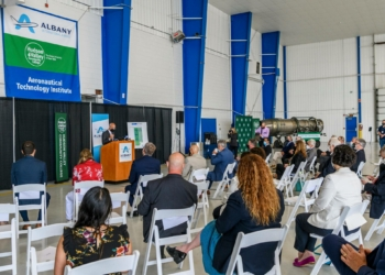 The announcement of a new partnership between HVCC and the Albany International Airport Photo courtesy of HVCC