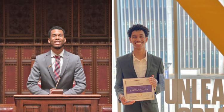 Juneteenth scholarship winners Nicholas Chin, left, and Jordan Ozley.