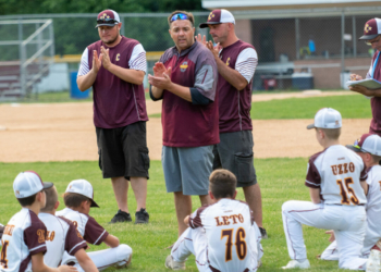 Chris Larrabee, center, talks to his 11U All Star team at Cook Park in the Village of Colonie after a recent game. Jim Franco/Spotlight News