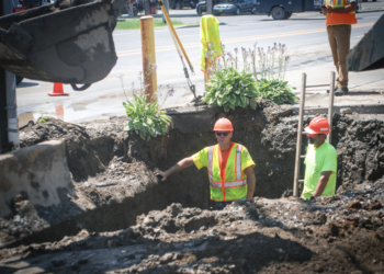 A Bethlehem DPW crew fixes a water-main break earlier this year by  Delaware Plaza.