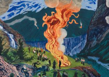 Midsummer Eve Bonfire by Nikolai Astrup. Photo provided by the Clark Art Institute