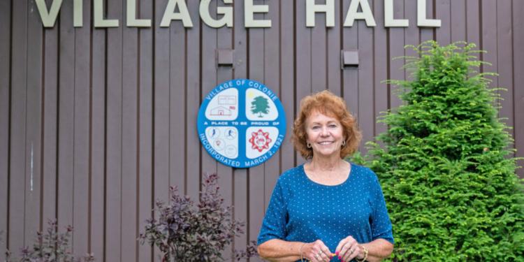 Kathy Haas outside Village Hall Jim Franco / Spotlight News