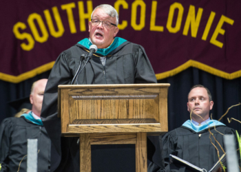 Ed Sim, at the time Board of Education president, speaks during the South Colonie Class of 2018 commencement. Jim Franco / Spotlight News