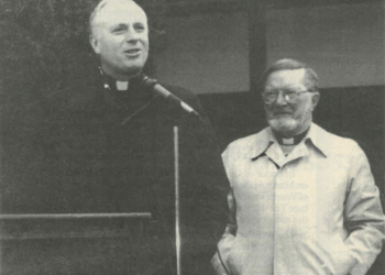 Albany Bishop Howard Hubbard, left, and Father James Daley in March 1997.  Spotlight News Archive photo.