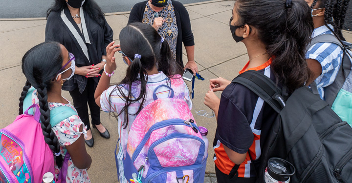 State Education Department Commissioner Betty Rosa (with hat) and Menands Superintendent Maureen Long on the first day of School, Thursday, Sept. 9 (Jim Franco / Spotlight News)
